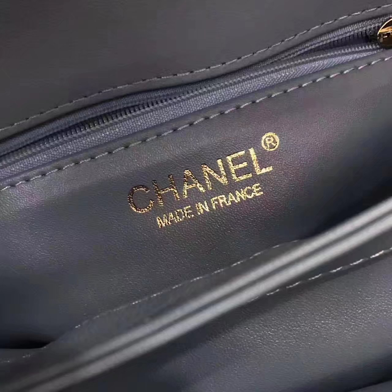 Chanel Flap Bag With Top Handle Lambskin Gold Blue