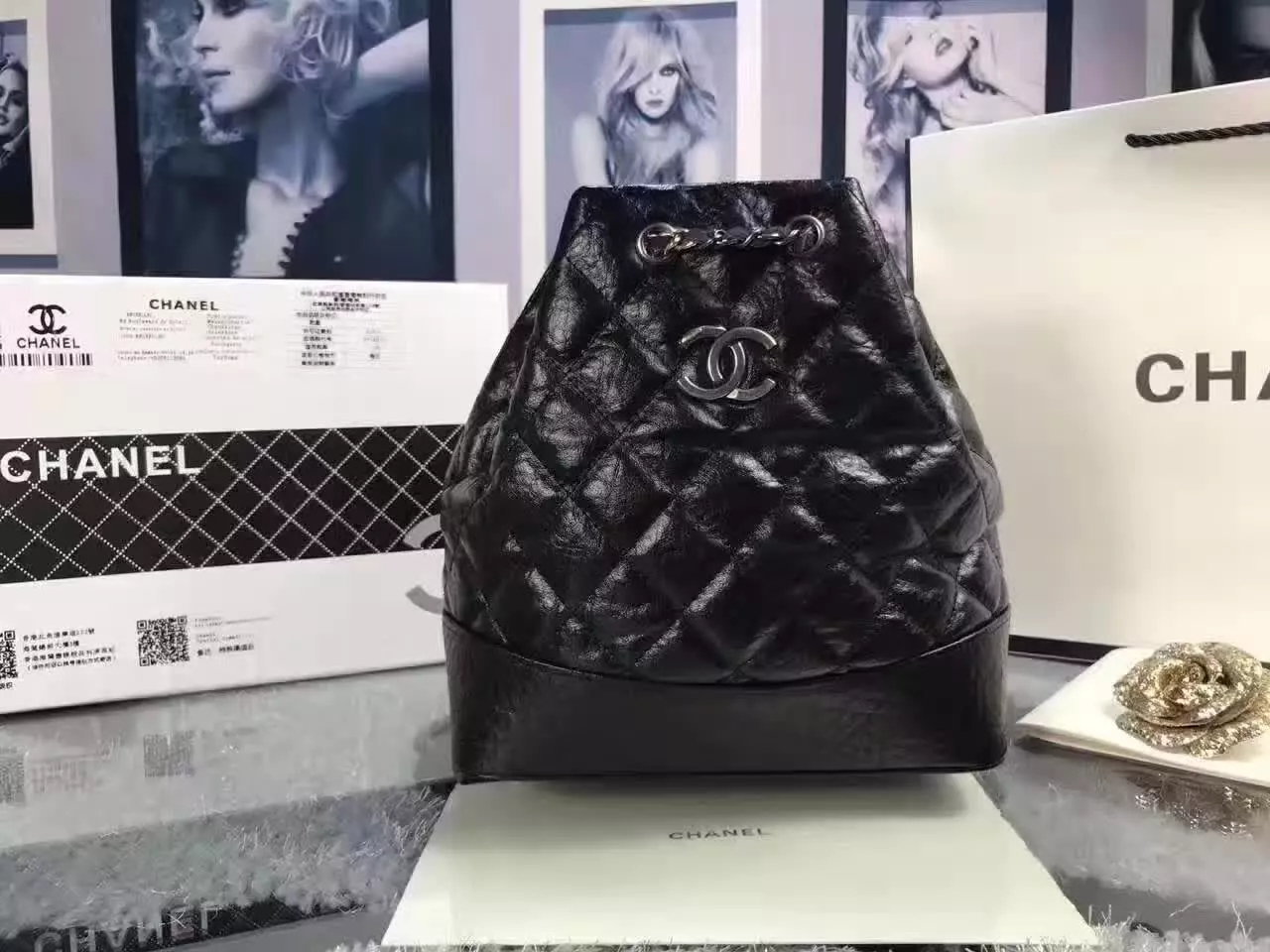 Chanel Gabrielle Leather Backpack Black