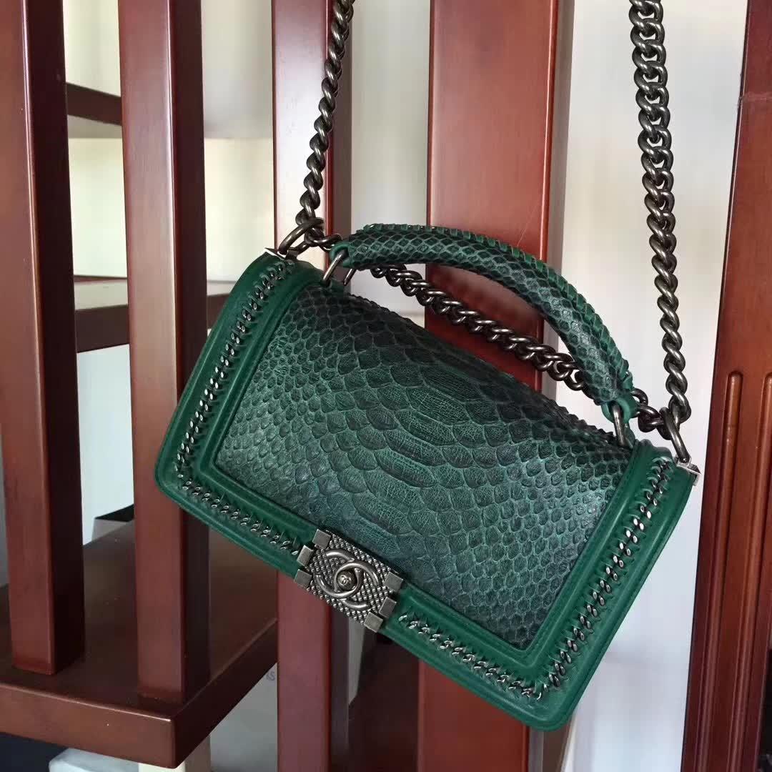 Chanel Green Python 25cm Boy Bag with Top Handle Bronze Hardware