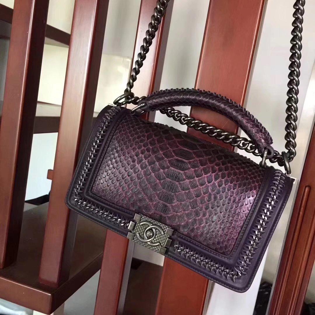 Chanel Purple Python 25cm Boy Bag with Top Handle Bronze Hardware