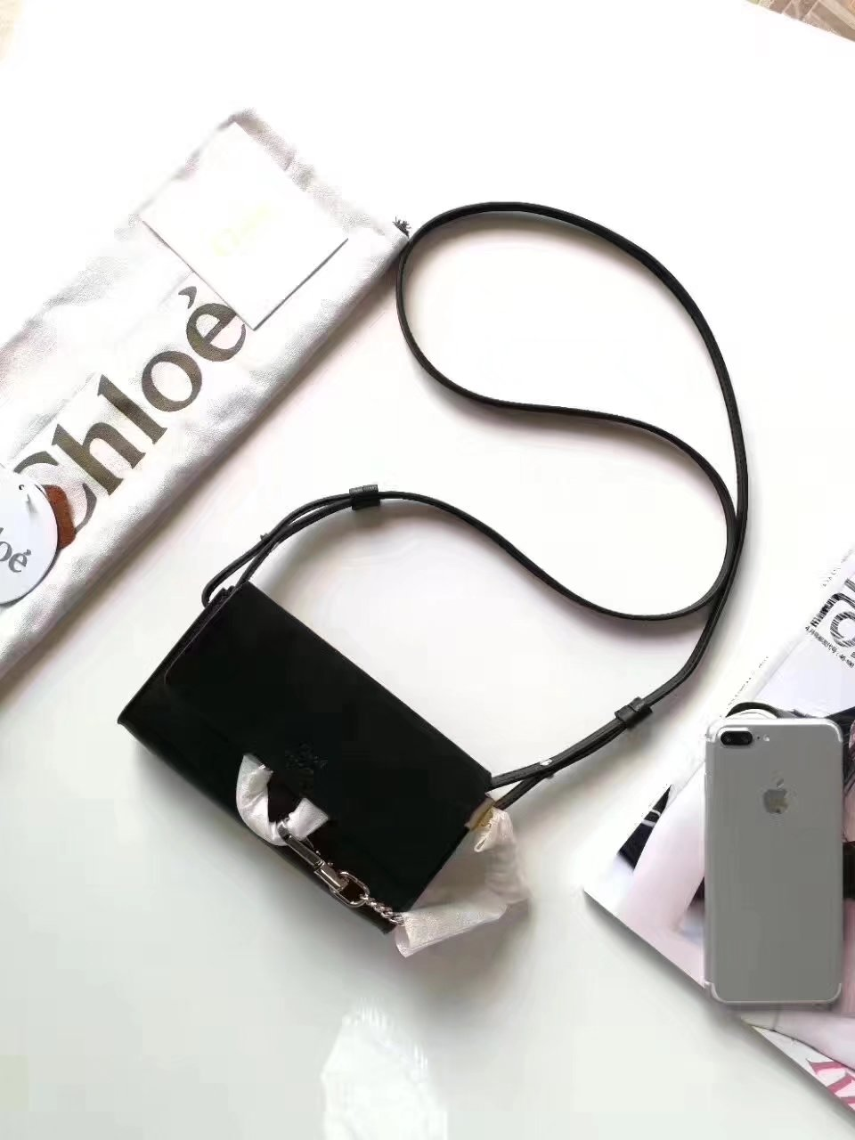 Original Chloe Faye Long Wallet in Smooth and Suede Calfskin with Adjustable Strap Black