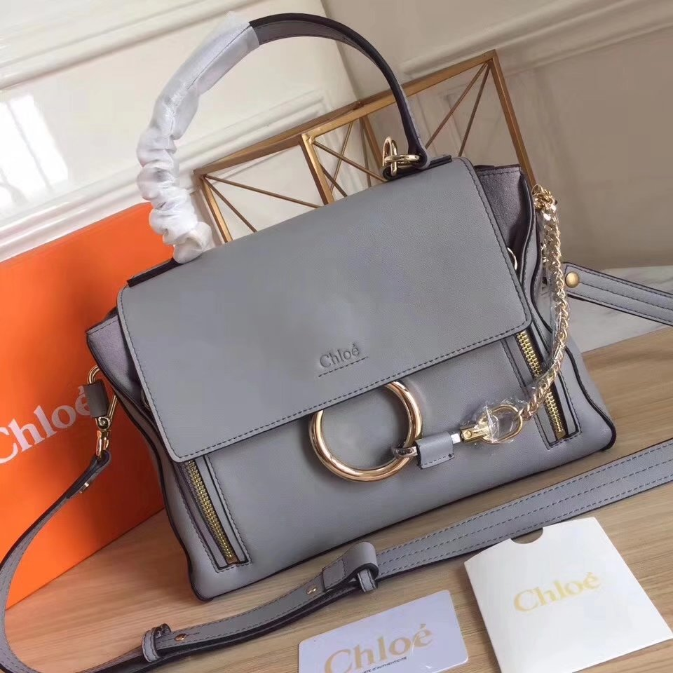 Chloe Small Faye Double Carry Bag in Smooth Suede Calfskin Grey