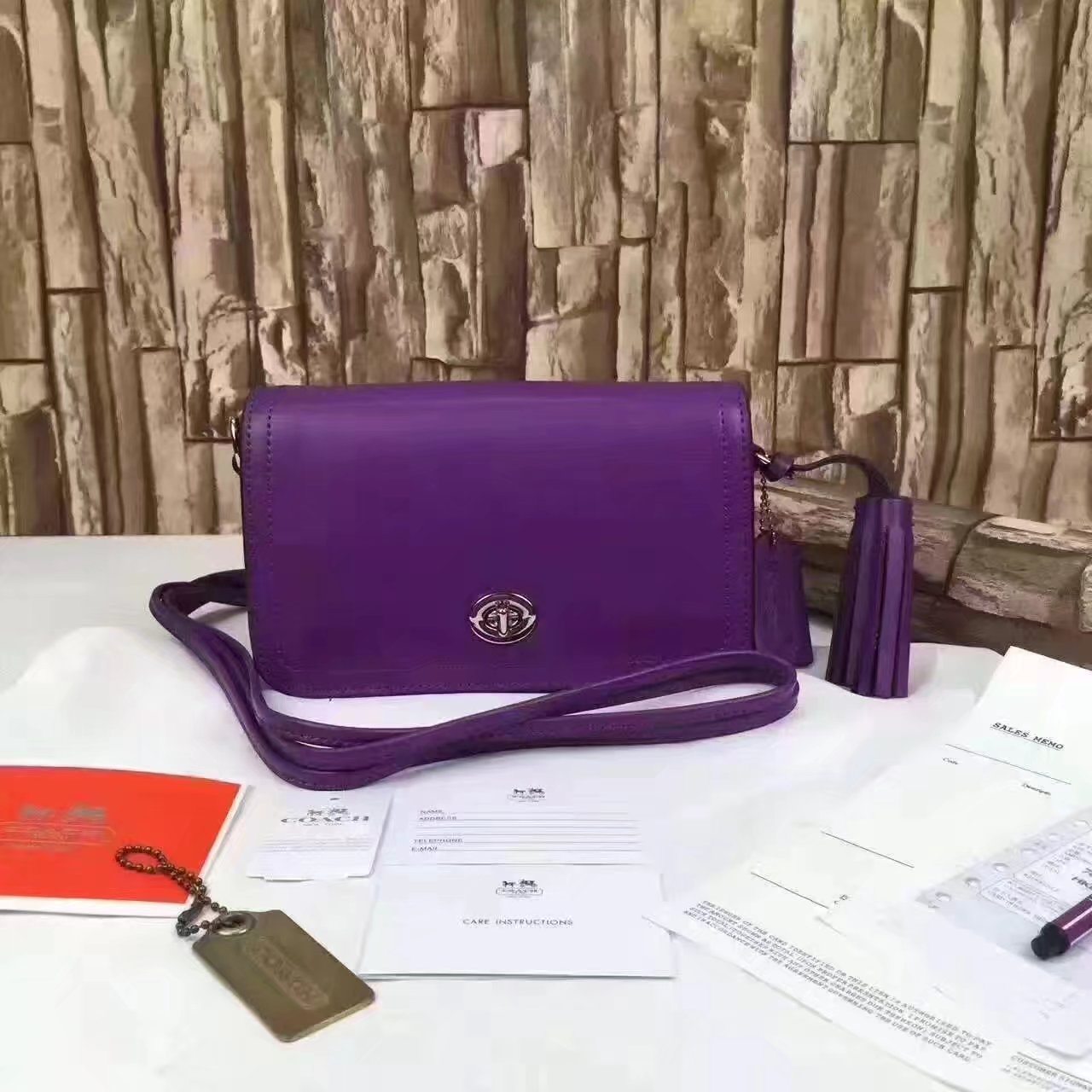 Coach 1941 Dinky In Colorblock Mixed Materials Purple