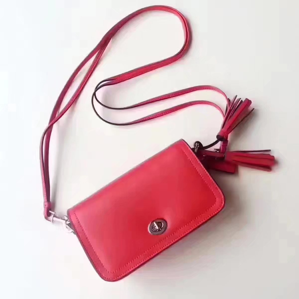 Coach 1941 Dinky In Colorblock Mixed Materials Red