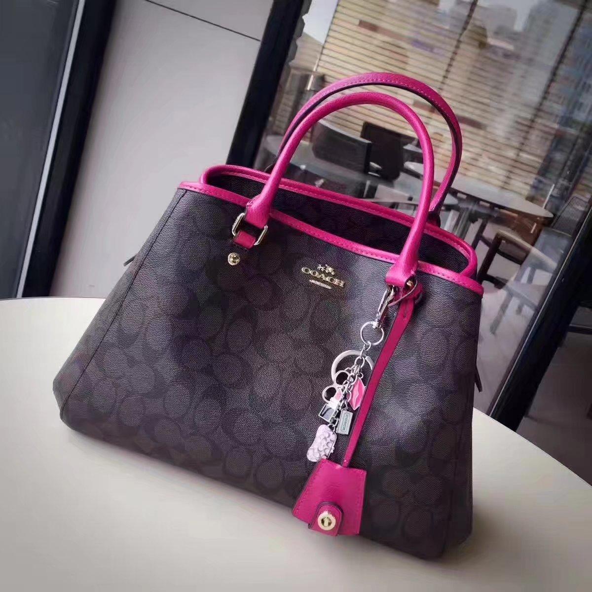 Coach 34608 Women Tote Bag in Signature Jacquard Pink