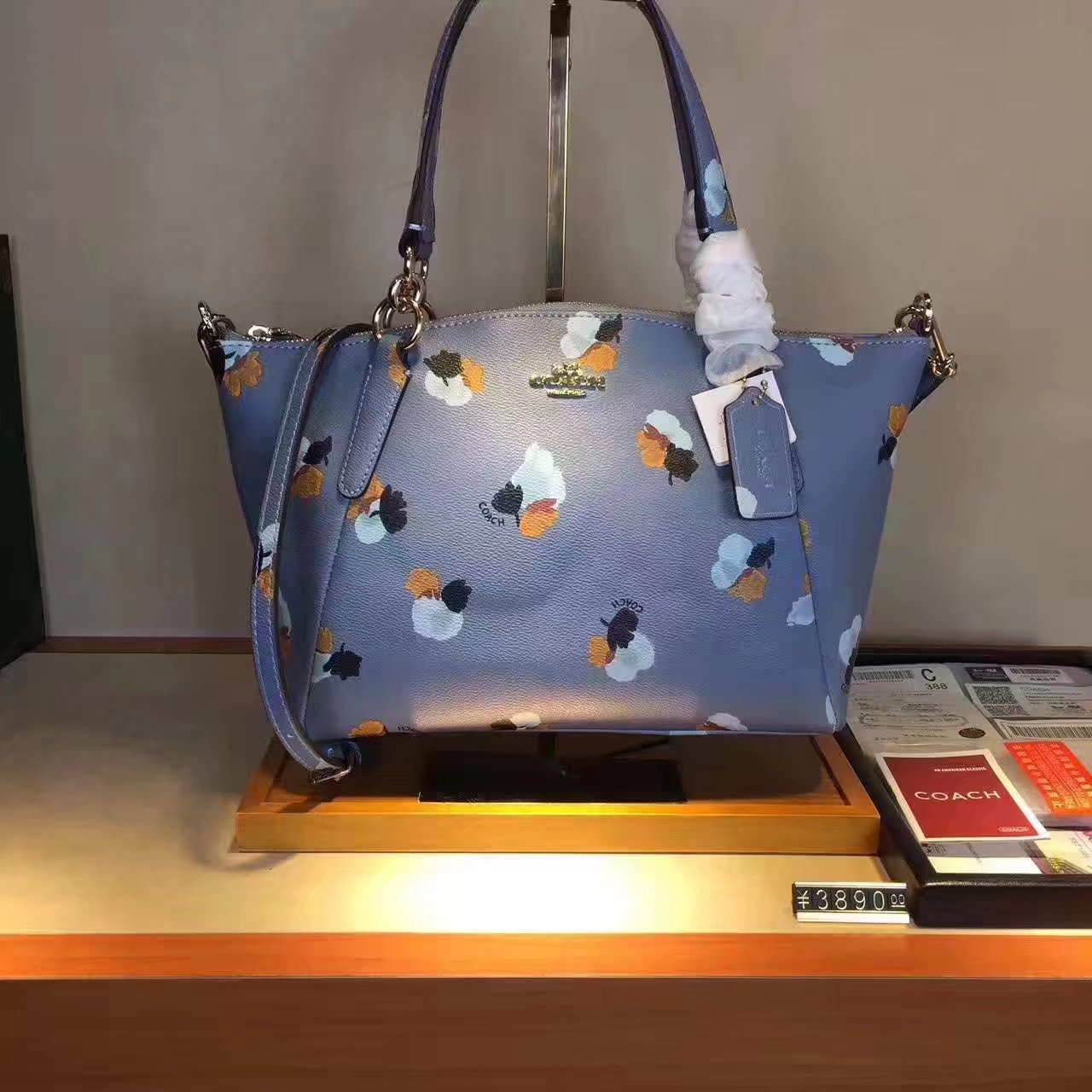 Coach 36625 Leather Print Shoulder Bag Blue
