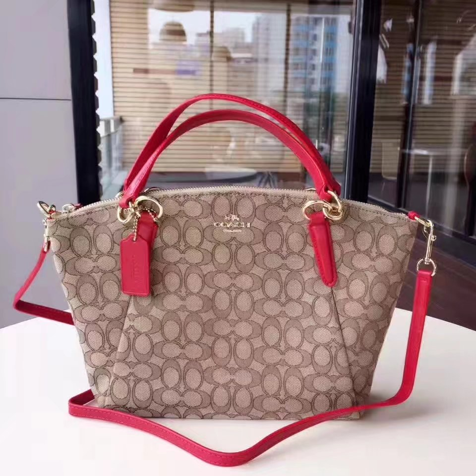 Coach 36625 Women Shoulder Bag in Signature Jacquard Red