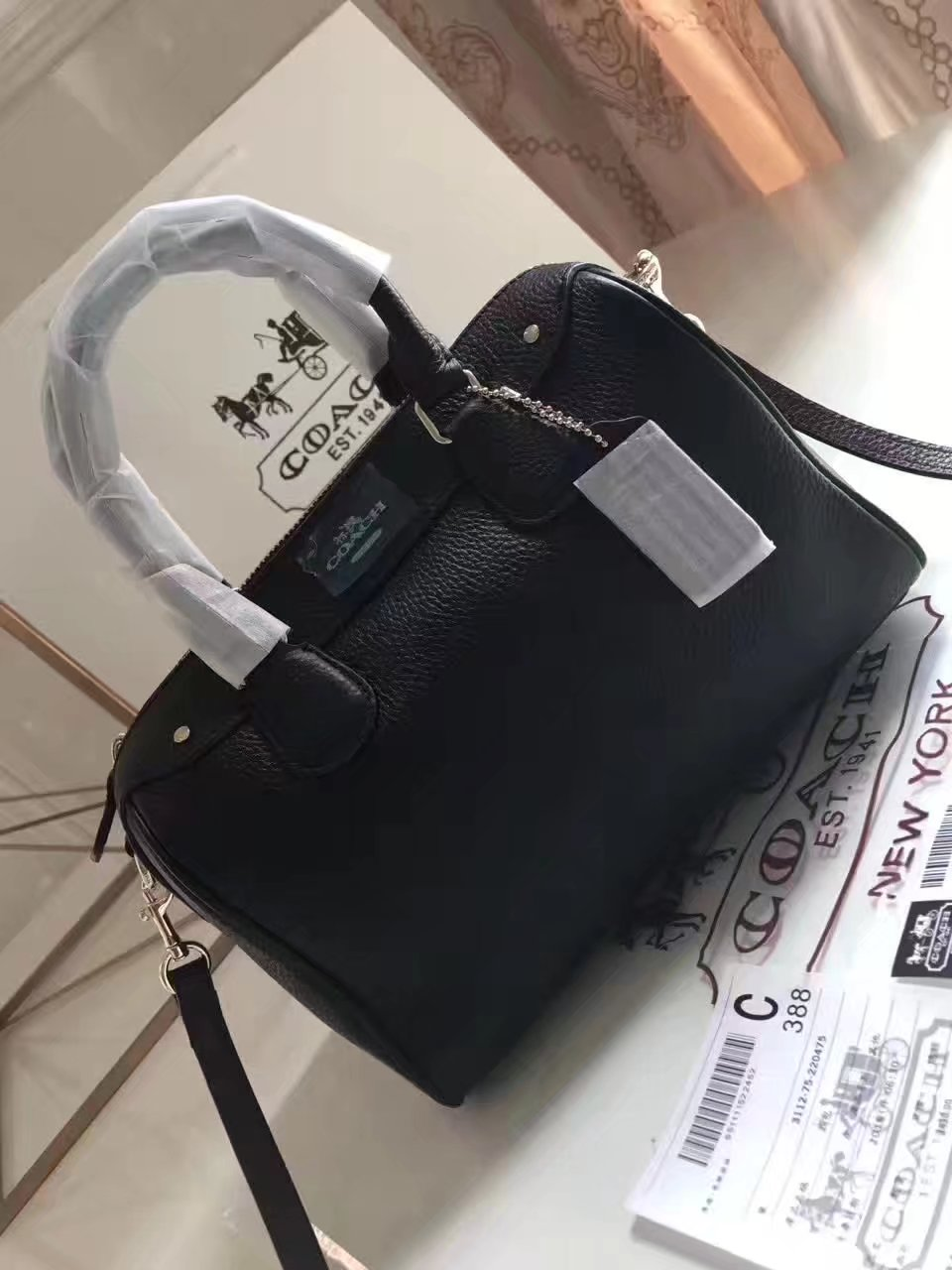Coach 57495 Leather Boston Bag Black