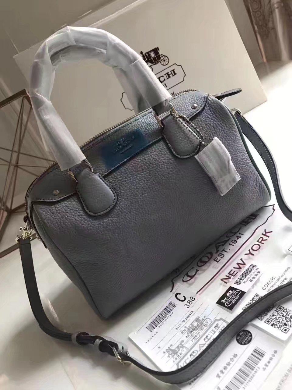 Coach 57495 Leather Boston Bag Grey