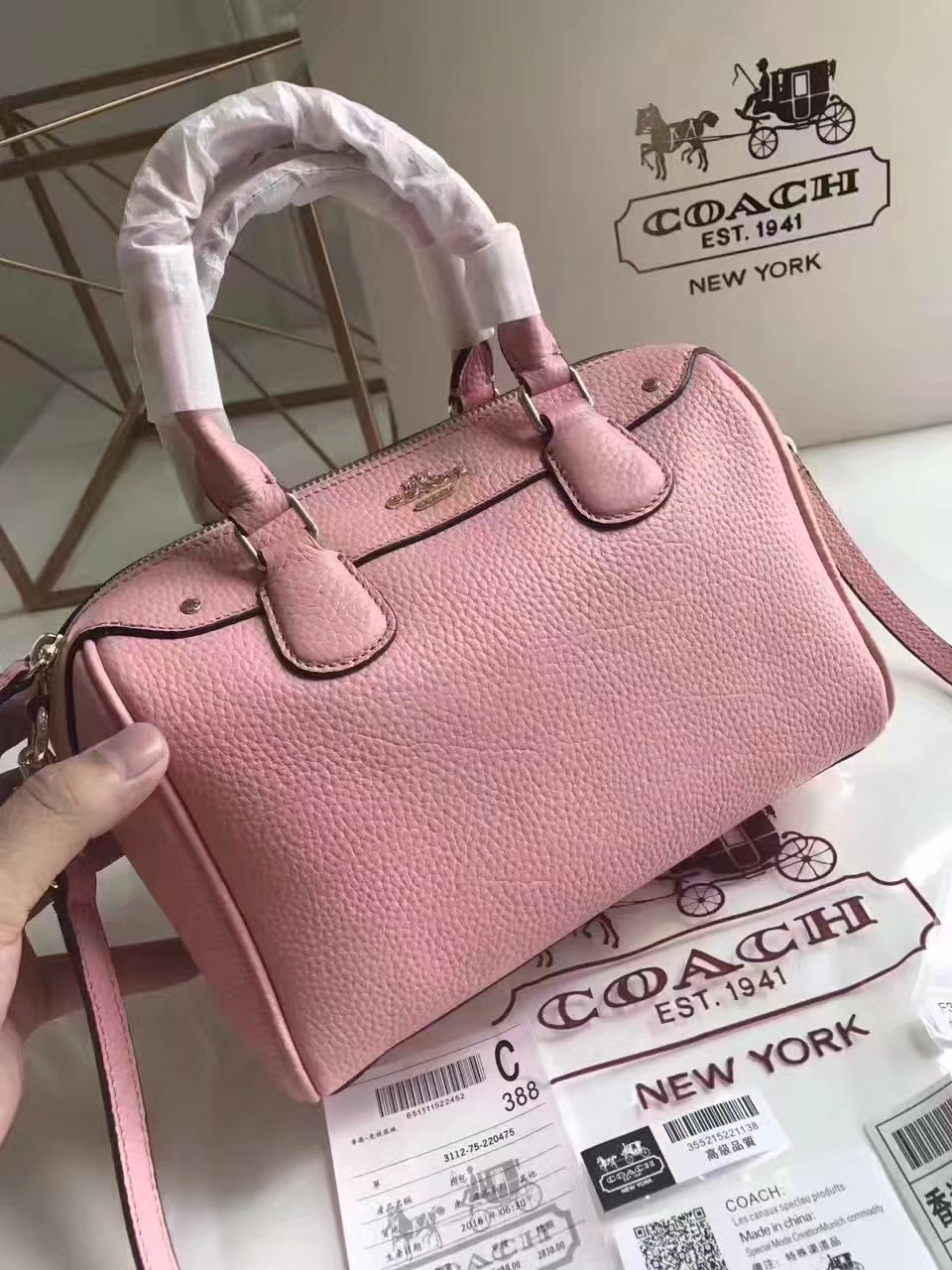 Coach 57495 Leather Boston Bag Pink