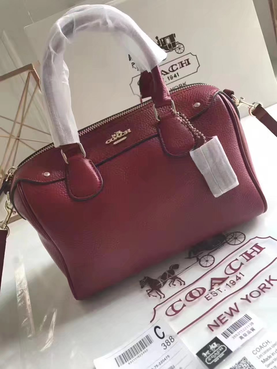 Coach 57495 Leather Boston Bag Red