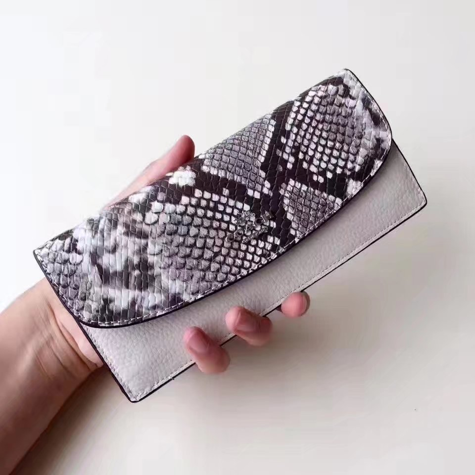 Coach 57592 Serpentine Leather Flap Women Wallet White