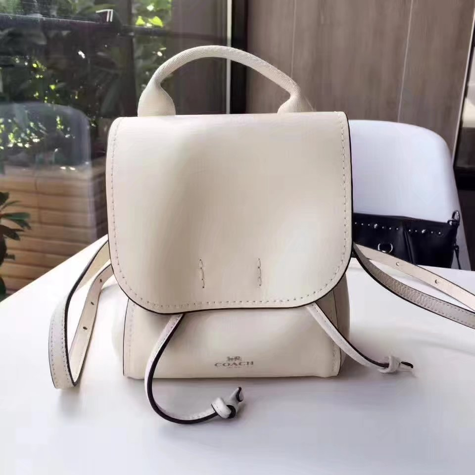 Coach 59819 Women Flap Leather Backpack in White