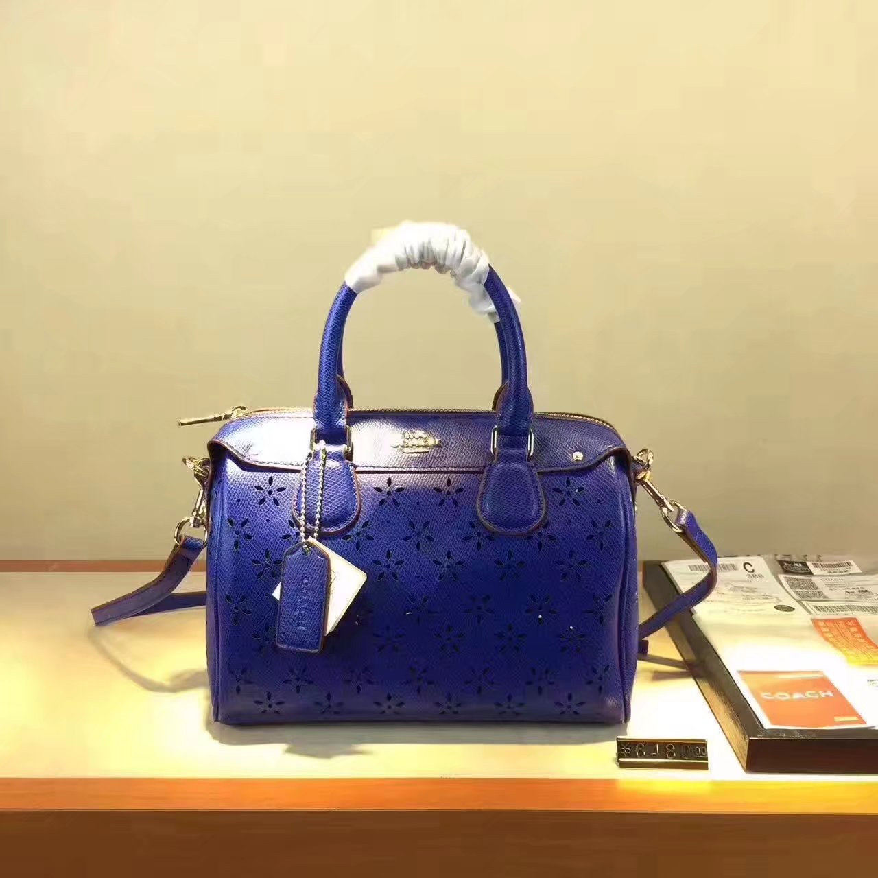 Coach Hollow Plate Women Leather Tote Bag Blue