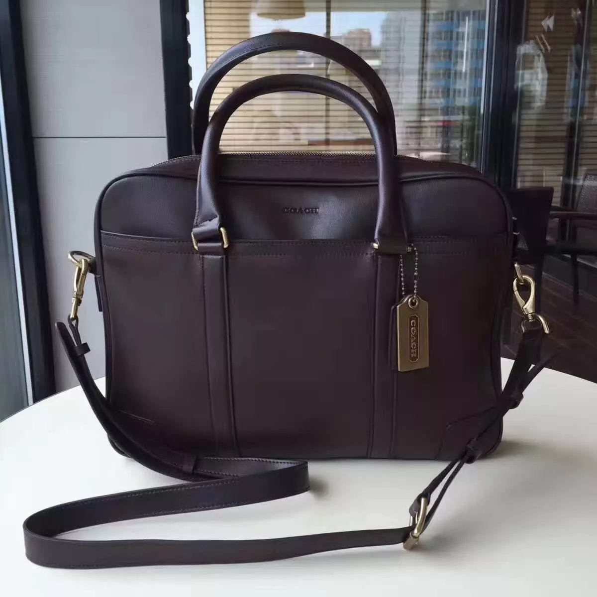 Coach Men Metropolitan Commuter in Sport Calf Leather Briefcase Balck