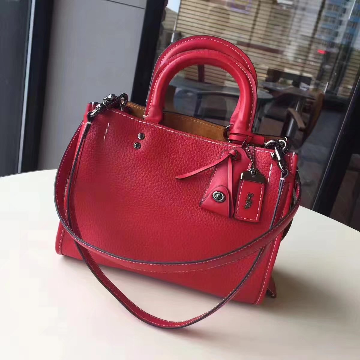 Coach Rogue Leather Tote Bag Red
