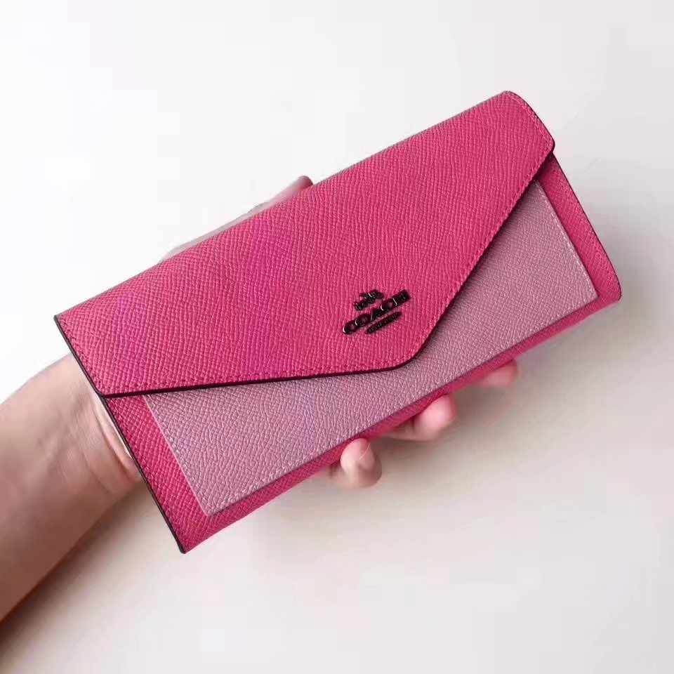 Coach Soft Wallet in Colorblock Crossgrain Pink Leather
