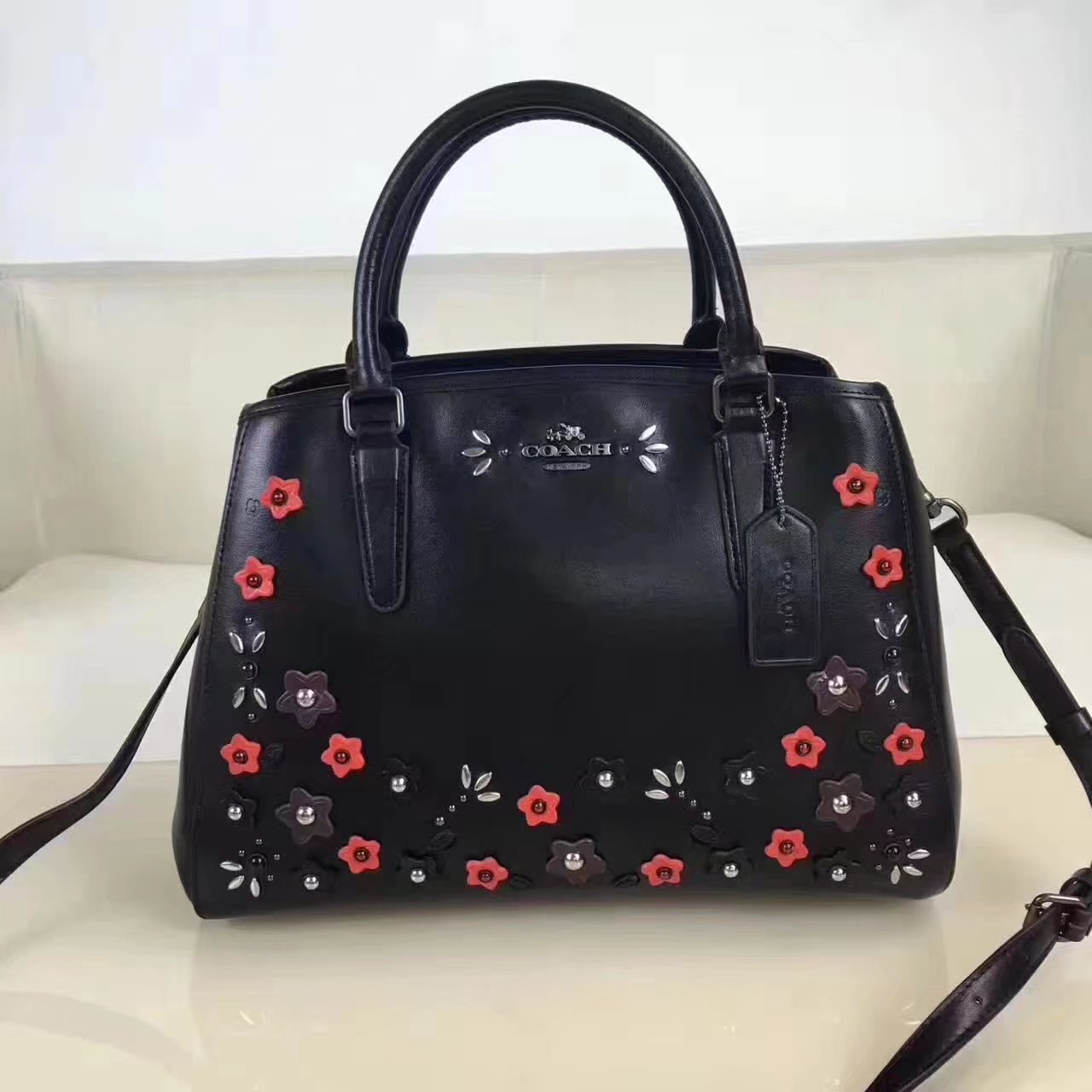 Coach Women Black Leather Tote Bag With Flower