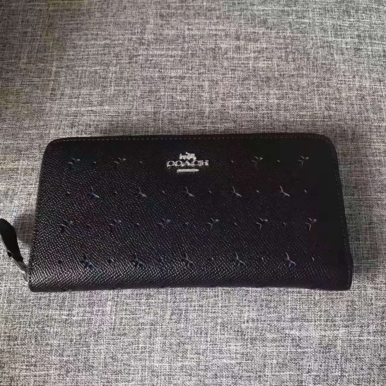 Coach Women Butterfly Hollow Long Wallet Black