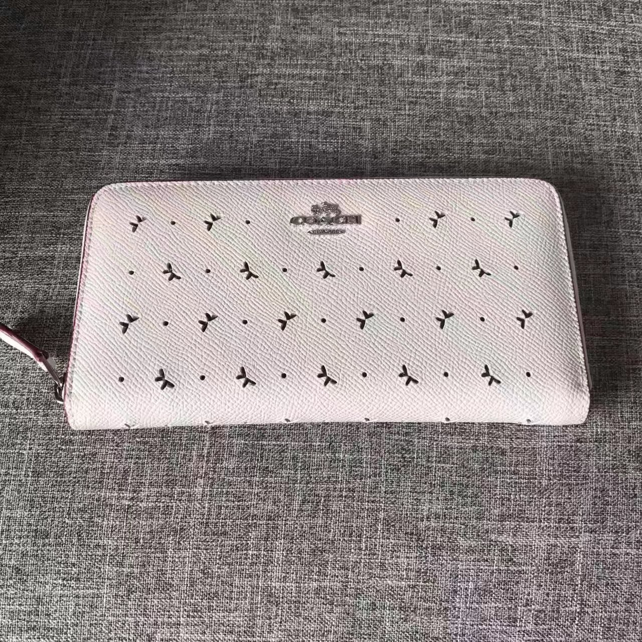 Coach Women Butterfly Hollow Long Wallet White