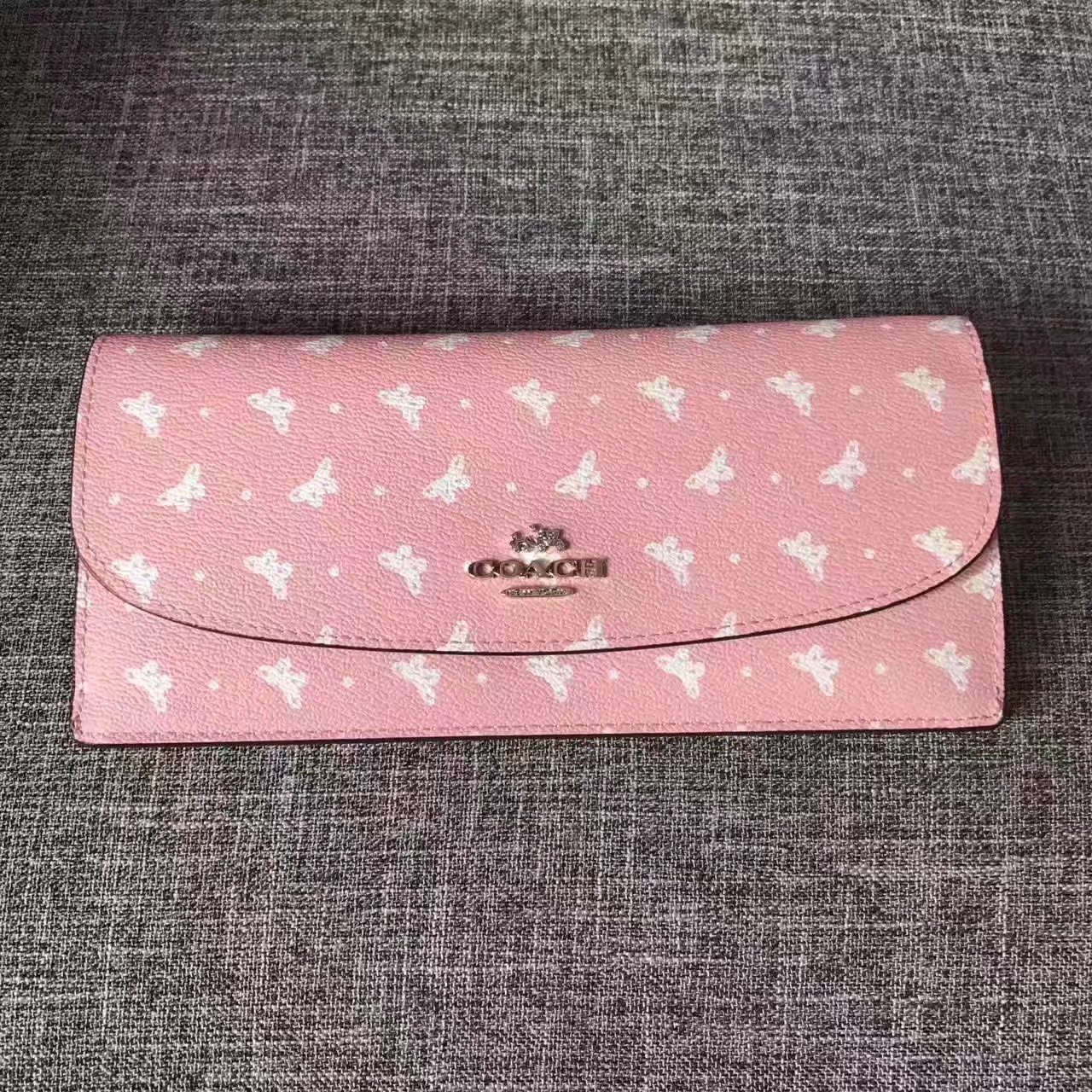 Coach Women Butterfly Print Long Flap Wallet Pink