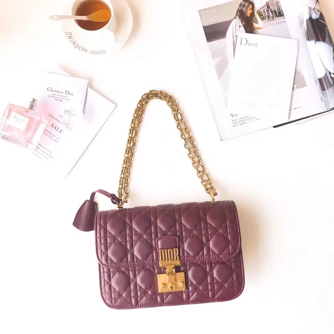 Dior 24cm Dioraddict Flap Bag in Burgundy Lambskin Cannage Topstitching