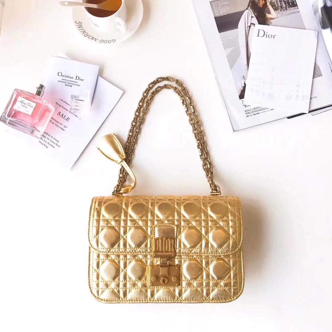 Dior 24cm Dioraddict Flap Bag in Gold Lambskin Cannage Topstitching