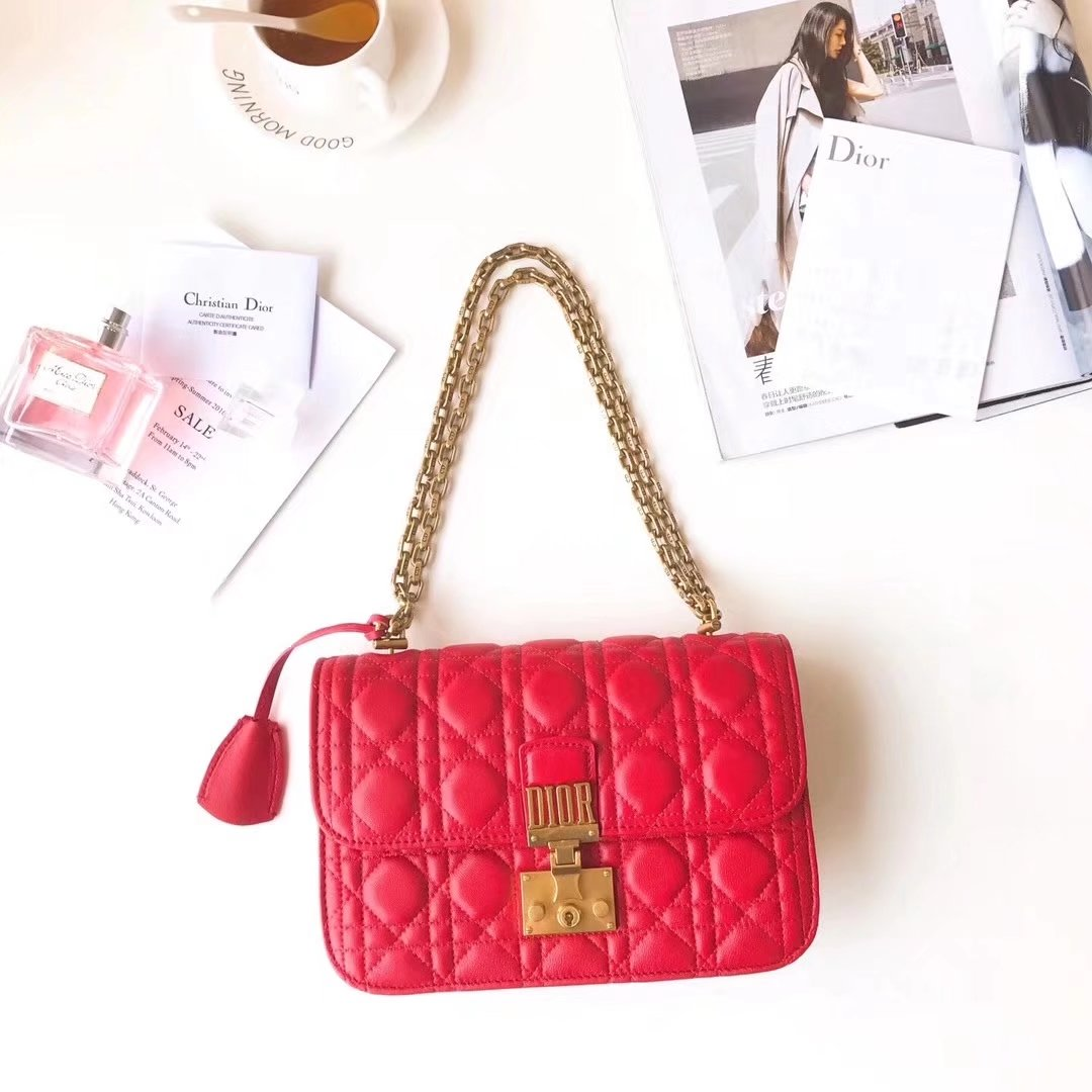 Dior 24cm Dioraddict Flap Bag in Red Lambskin Cannage Topstitching