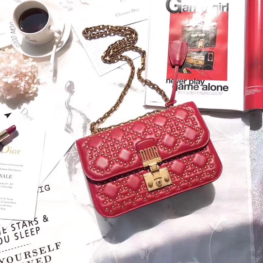 Dior Dioraddict Flap Bag in Red Studded Lambskin Cannage Design