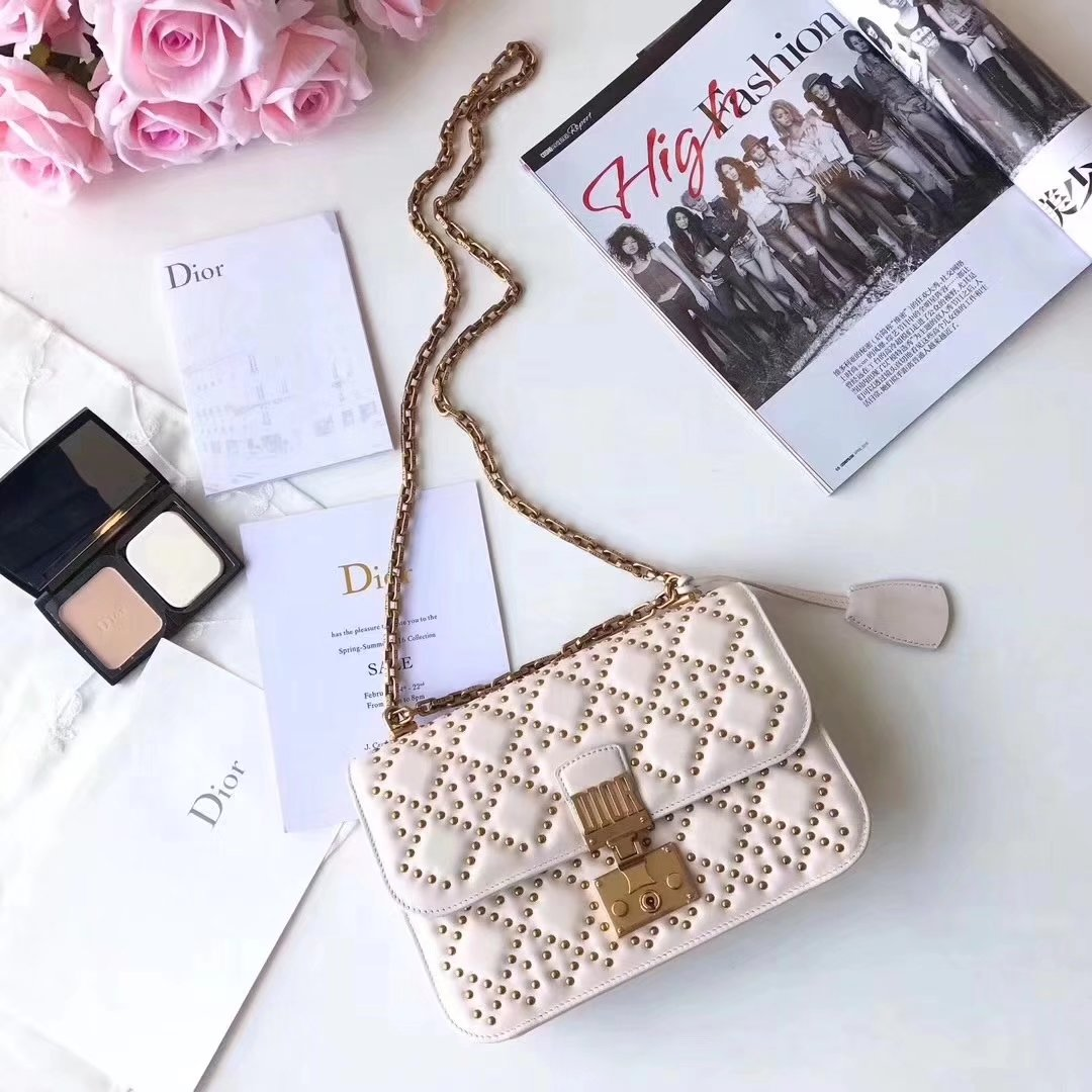 Dior Dioraddict Flap Bag in White Studded Lambskin Cannage Design
