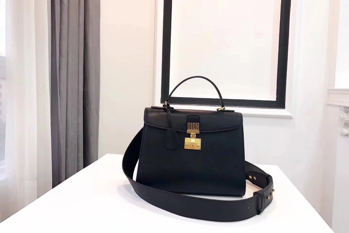 Dior Dioraddict Handbag in Black Grained Calfskin