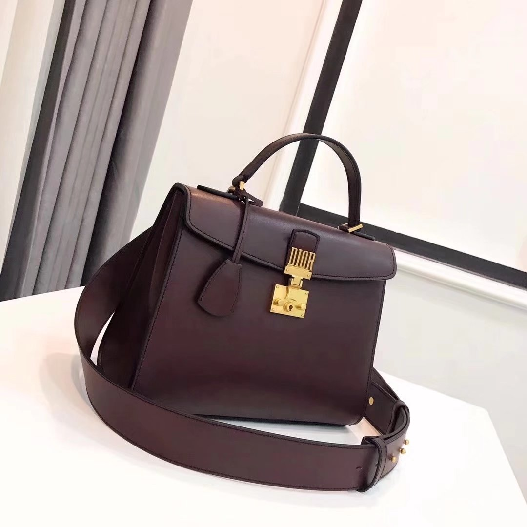 Dior Dioraddict Handbag in Brown Grained Calfskin