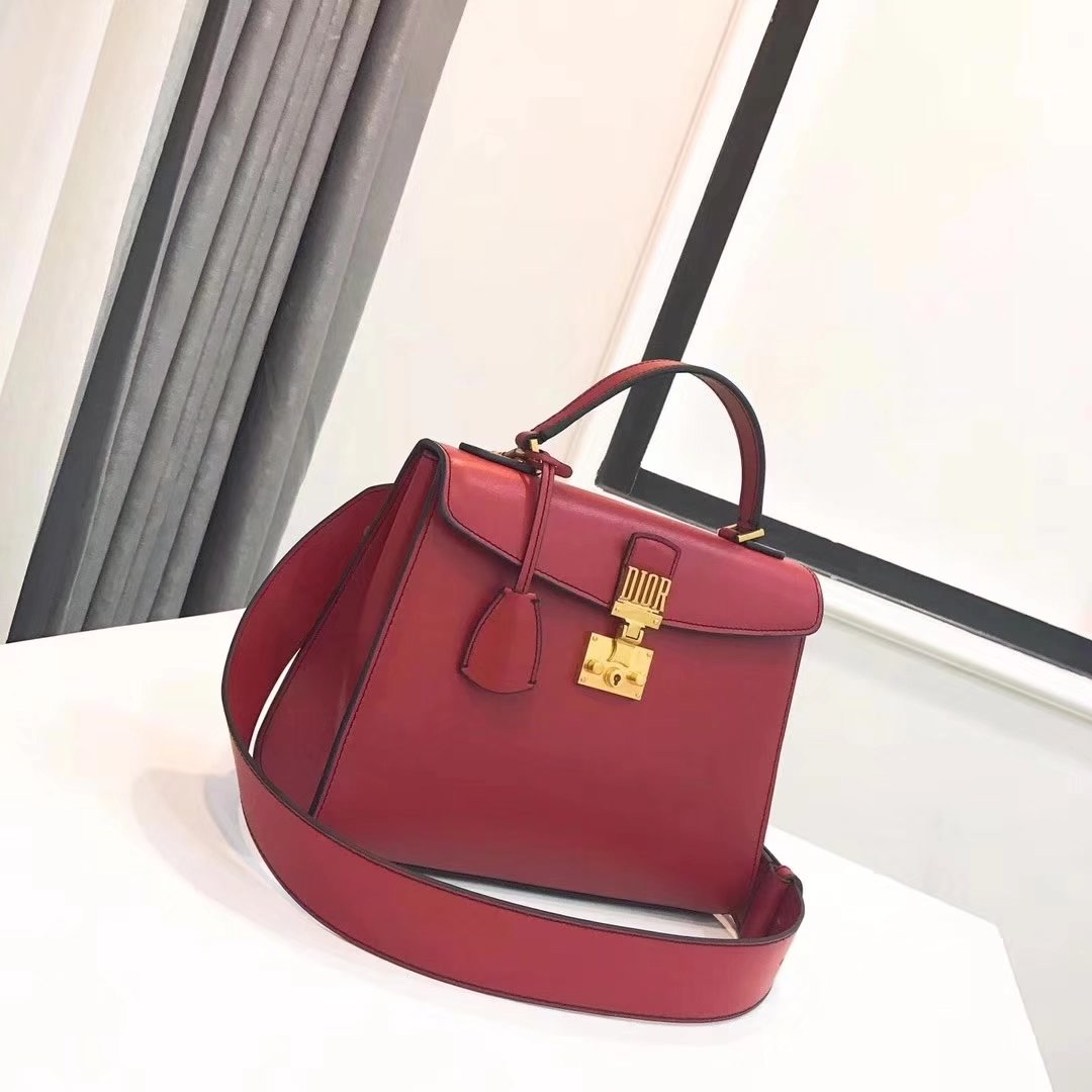 Dior Dioraddict Handbag in Red Grained Calfskin