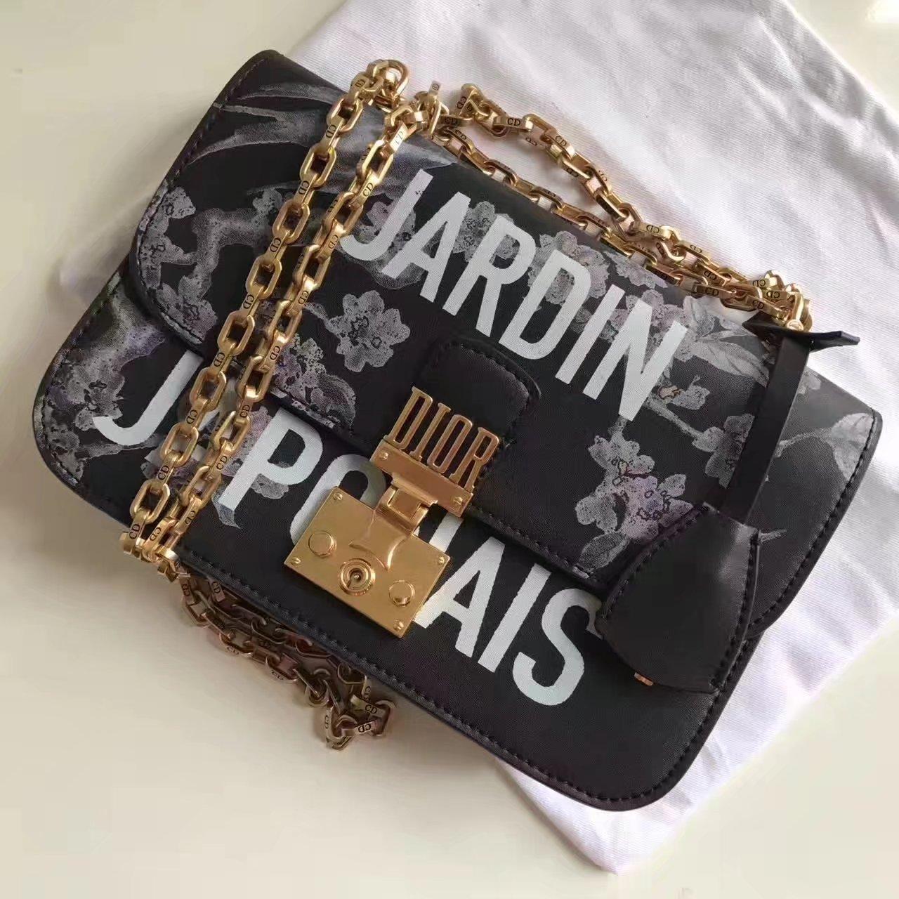 Dior Jardin Japonais Floral Print With Chain Flap Bag Black