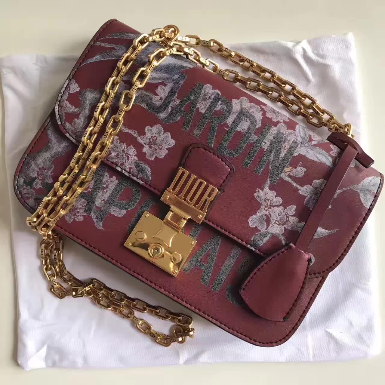 Dior Jardin Japonais Floral Print With Chain Flap Bag Red