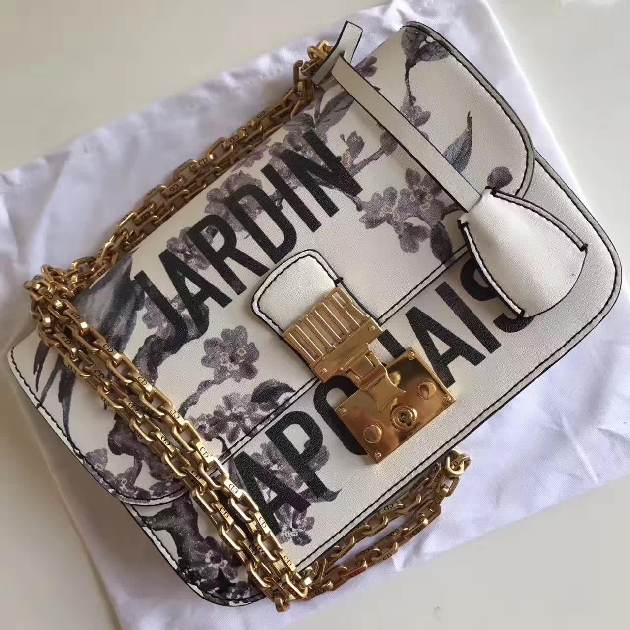Dior Jardin Japonais Floral Print With Chain Flap Bag White