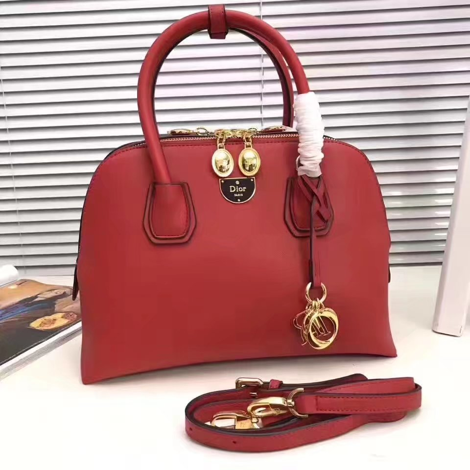 Dior Leather Tote Bag Red
