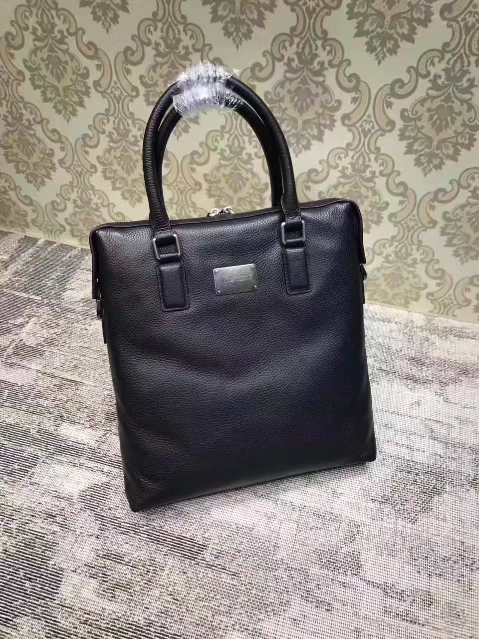 Dolce & Gabbana Men's Leather Tote Briefcase Black