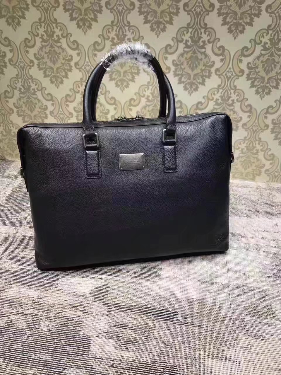 Dolce & Gabbana Men's Leather Briefcase Black