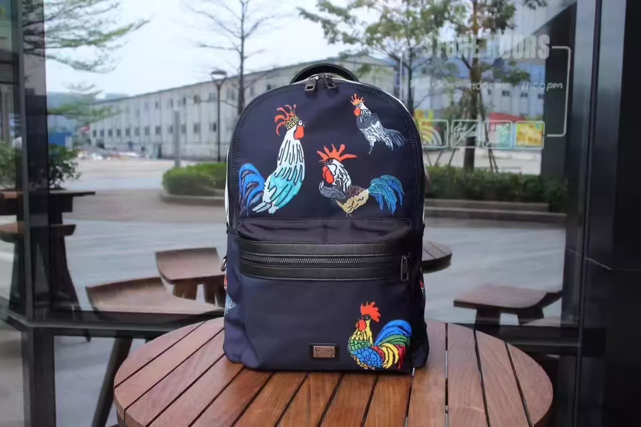 Dolce & Gabbana Men Vulcano Backpack in Printed Nylon Blue