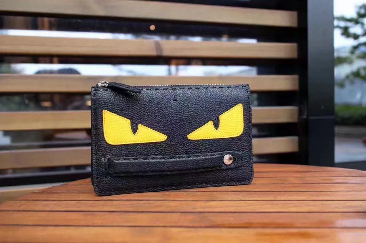 Fendi Bag Bugs Clutch Bag in Black Roman Leather