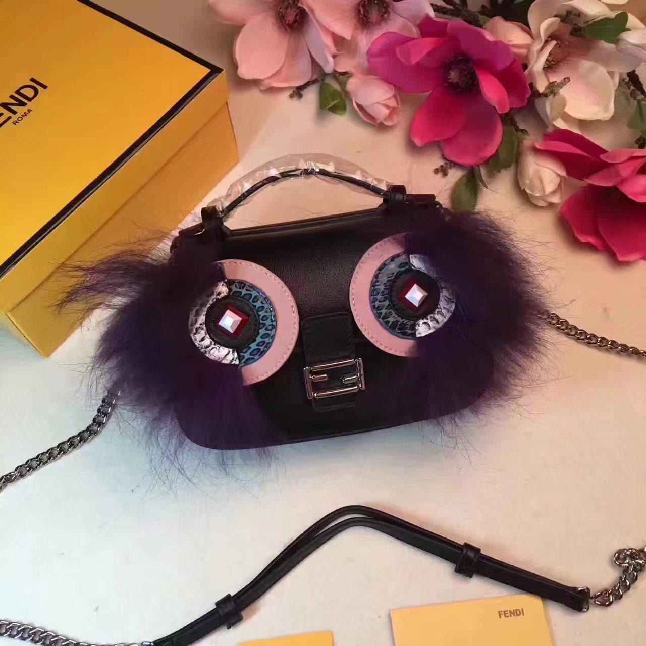 Fendi Baguette Micro Double-Sided Monster Crossbody Bag Black