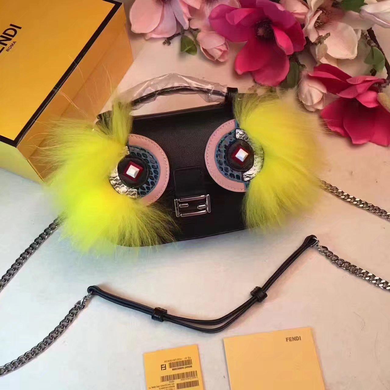 Fendi Baguette Micro Double-Sided Monster Crossbody Bag Yellow