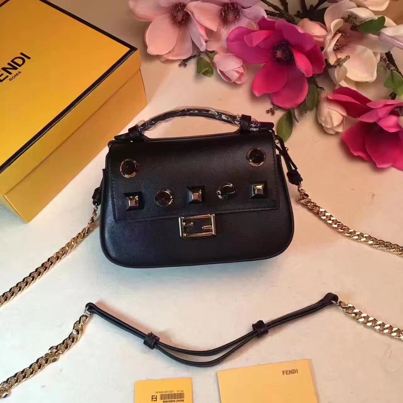 Fendi Black Leather Double Micro Baguette Microbag with Black Studs