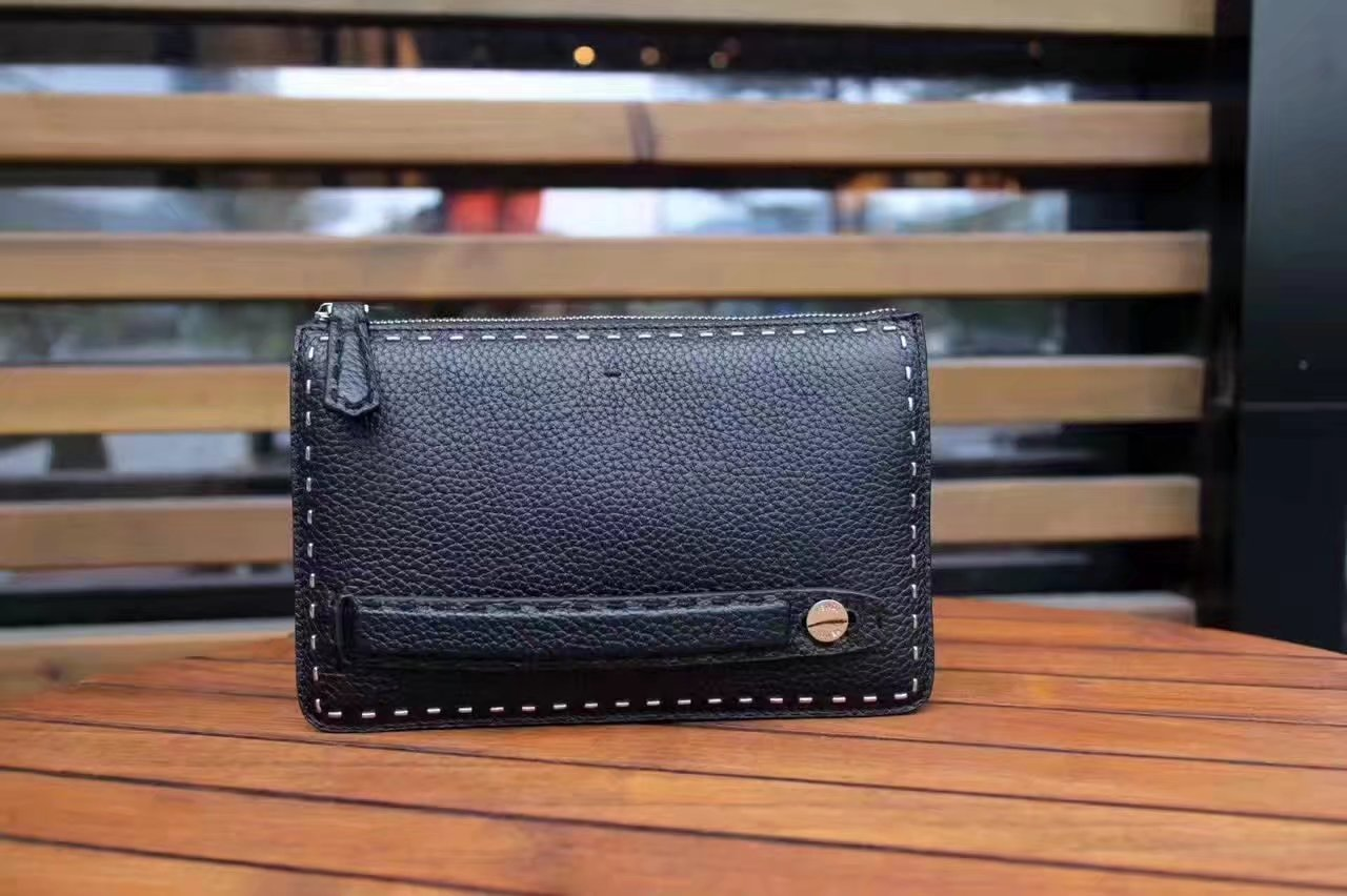 Fendi Clutch Bag in Black Roman Leather White Suture