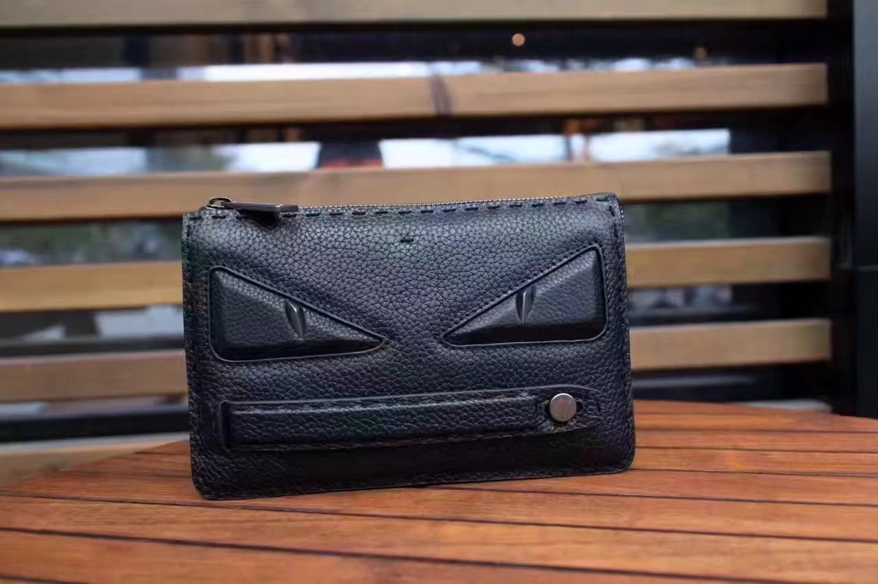 Fendi Clutch Bag in Black Roman Leather