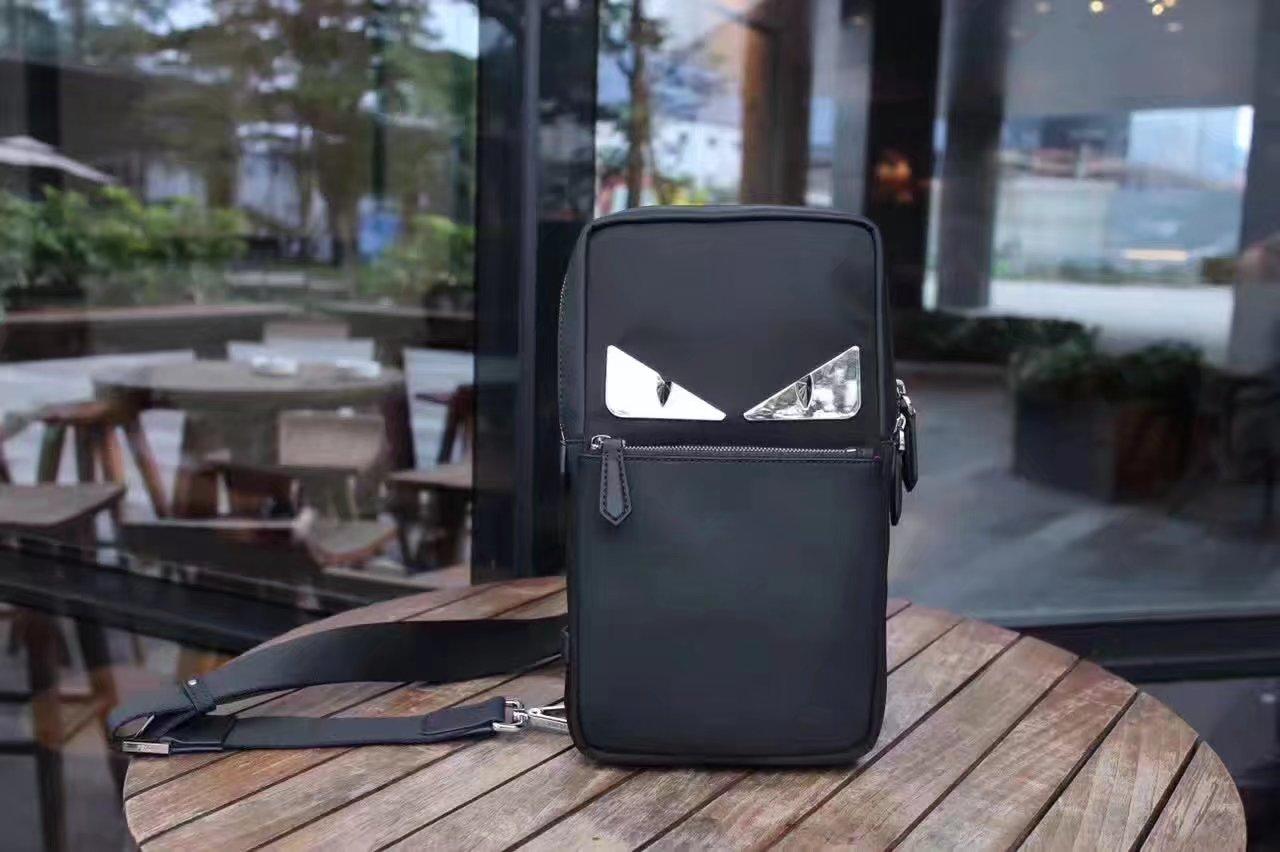 Fendi Men Small Black Shoulder Bag With Bugs Eyes