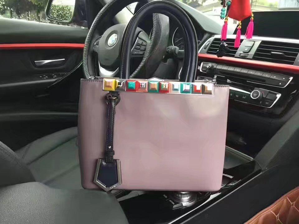 Fendi Petite 2Jours Purple Leather Tote Bag with Multicolored Studs