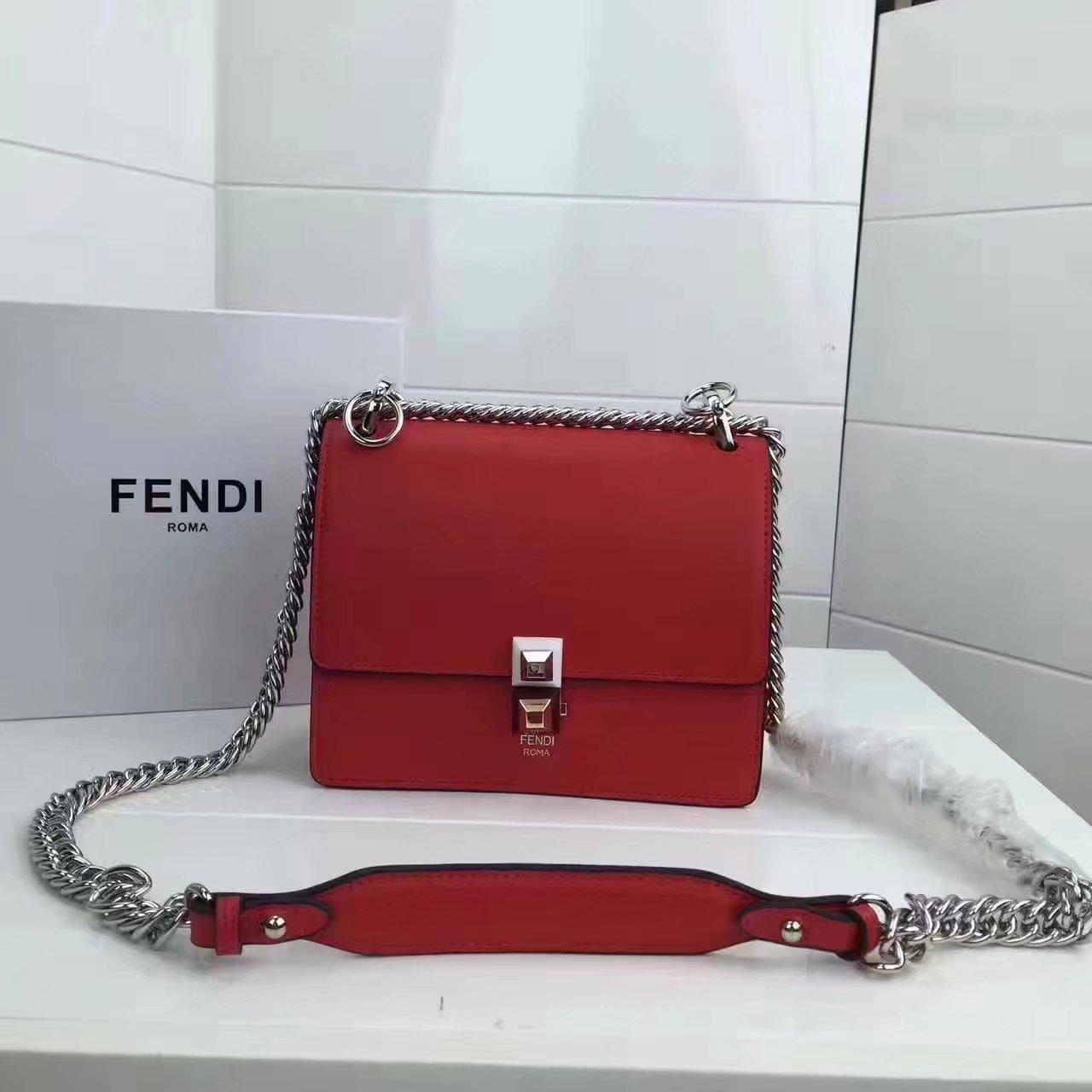 Fendi Small Kan I Red Leather Mini Bag