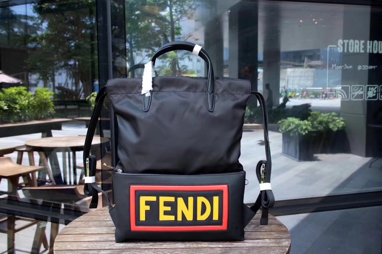 Fendi Vocabulary Men Backpack Black Nylon and Leather